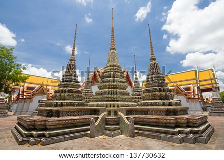 Thai style architecture at Wat Pho, one of the most famous attraction in Bangkok, Thailand.