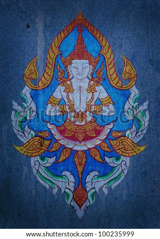 Thai style art painting on blue canvas