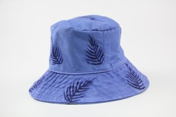 Thai style blue bucket hat with leaf pattern, Thai hand-made work, casual hat for wearing on holiday or for sunblock in summer, design for both women and men.