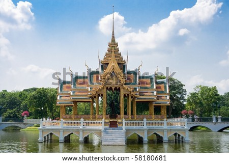 Thai style castle in the middle of pond, Bang-Pa-In Palace, Ayutthaya Thailand