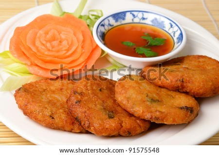 Thai Style Deep Fried Chicken Cakes On White Background Stock Photo ...