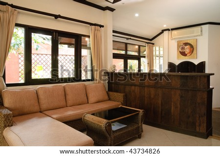 Thai style living room in hotel apartment