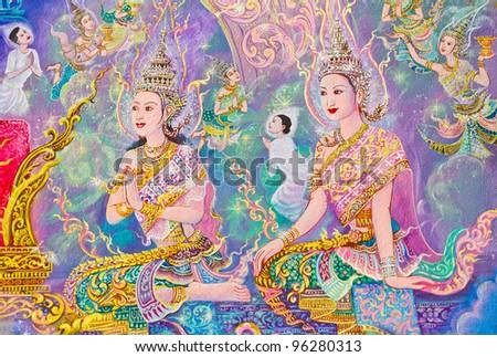 Thai-style murals.