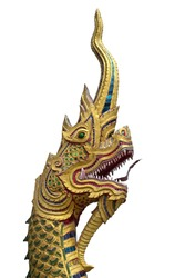 Thai style Naga head. Traditions about Nagas are also very common in all the Buddhist countries of Asia.