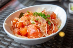 Thai style spicy salmon dice salad named