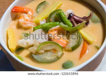 "Thai style spicy soup name is ""Tom Yum"""