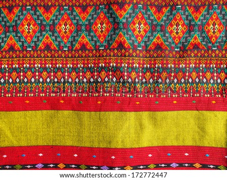 Thai  style textile fabric  , handmade for background