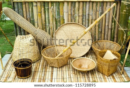 Thai style tools made from bamboo stock photo 115728895 for Things you can make with bamboo