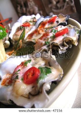 Thai styled fresh oysters