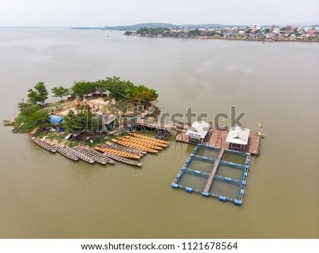 Thai submerged or underwater public temple, wat Tilok Aram at Phayao city lake, Thailand #1121678564