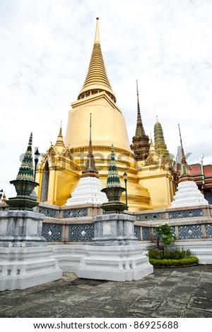thai temple and nice blue sky,Wat phra kaew, Grand palace, Bangkok, Thailand