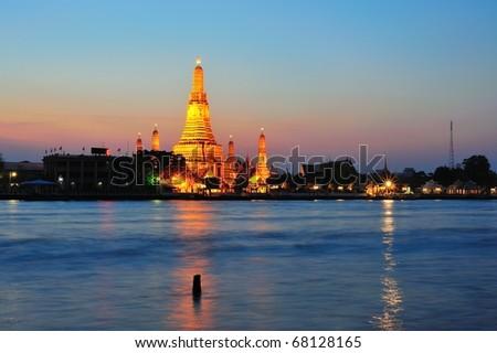 Thai temple in twilight