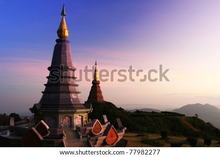 Thai temple on the top of mountain in chiangmai,Thailand