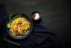 Thai traditional food, Pad thai, dry noodle, street food, best delicious, dark food photography
