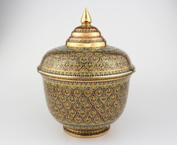 Thai traditional porcelain with lid called Benjarong - It contained of 5 colors art painted in the ceramic , high class art of Thailand isolated on white background