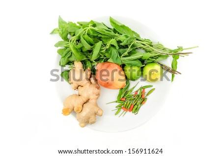 Thai vegetables ingredient, ginger, chili, lemon, basil