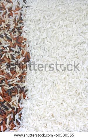 Thai White Jasmine rice dominate on Red Jasmine and Fragment magenta Organic rice, Background texture surface pattern