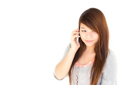 Thai woman is calling tsomeone on white background and blank area at left side