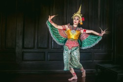 Thai women dance ma no rha show.This show is popular in Southern Thailand.