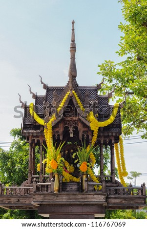 Thai wooden spirit house