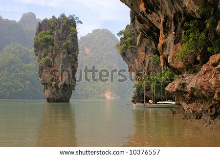 "Thailand. A province Phang Nga, more than 40 islands unusual form, near Phuket. On film ""James Bond and Golden Gun"" from this rock got out solar battery"