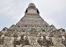 THAILAND, BANGKOK - 28 MARCH 2016 -  tiled pagoda at the temple of he sun or dawn temple