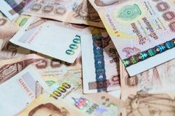 Thailand 1000 bath value money note background, Business concept