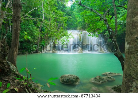Thailand beautiful waterfall in Kanjanaburi