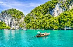Thailand boat at Phuket island landscape