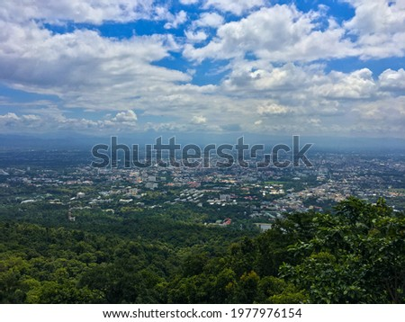 Thailand Chiang Mai road and city skyline