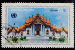 THAILAND - CIRCA 1971 : A stamp printed in Thailand show Thai Ancient  building,  United nations day, October 24, 1971, circa 1971
