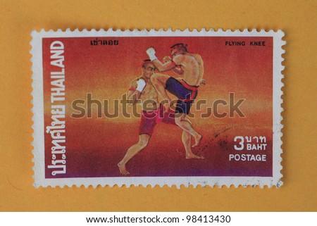 THAILAND - CIRCA 1984:A stamp printed in Thailand shows thai boxing style, circa 1984 - stock photo