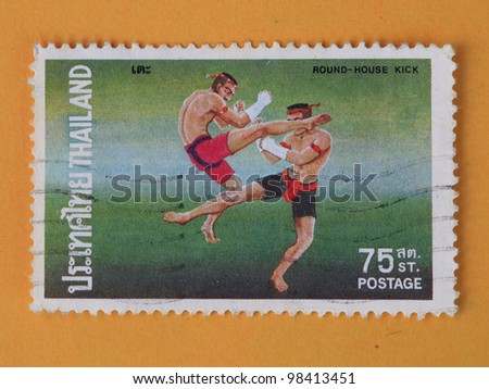 THAILAND - CIRCA 1984: A stamp printed in Thailand shows Thai boxing style, circa 1984