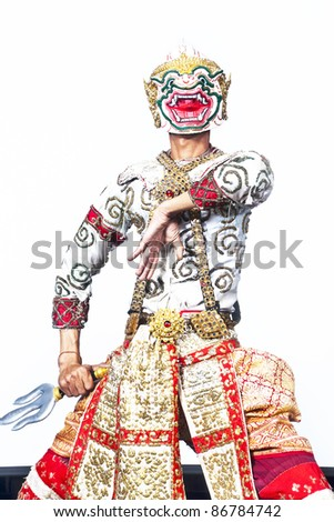 """Thailand Culture Dancing art in masked """"Khon"""" that high class of dance in Siam Bangkok Thailand. studio Female Dancing art with white background"""