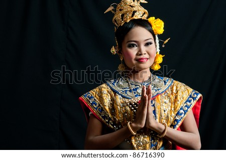 "Thailand Dancing art ""Khon"" that high class of dance in Siam Bangkok Thailand. Studio Female Dancing art with Black back ground"