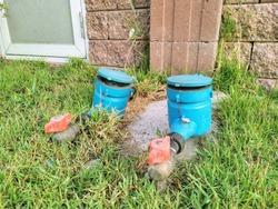 thailand double water meter in garden