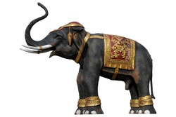 Thailand elephant statue isolated on white background ,with clipping path
