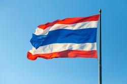 thailand international flag on top of the pole against clear blue sky