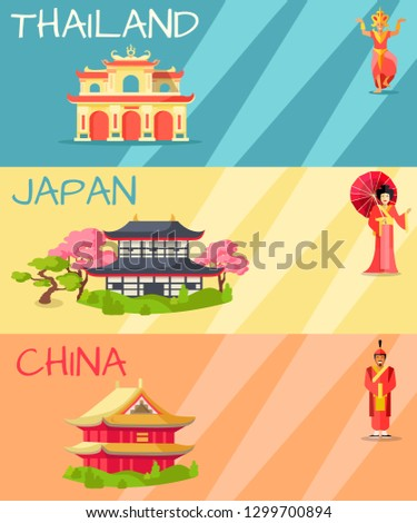 Thailand, Japan and China types of houses web banner. raster poster of Thailand building, Japanese traditional house and Chinese symbolic dwelling with figures of women, ancient soldier and statue