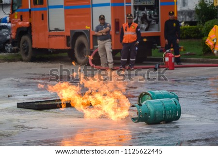 THAILAND,JUNE 2018 29: Fire and rescue emergency training at the hospital in Udonthani,Thailand #1125622445