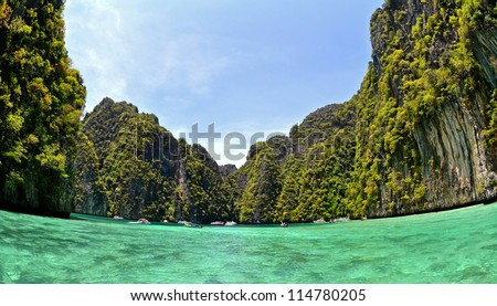Thailand,  Ko Phi-Phi L,fish-eye lens used