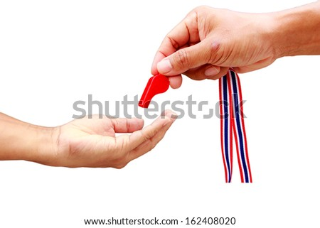 Thailand man hand put the red whistle for against government