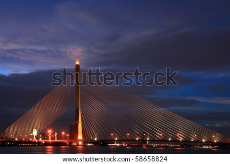 Thailand Mega Bridge,Rama 8, near Habour at Dusk in Bangkok