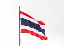 Thailand national flag stream on sky.