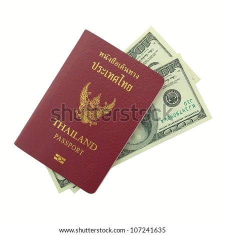 thailand passport with dollars isolated an white background