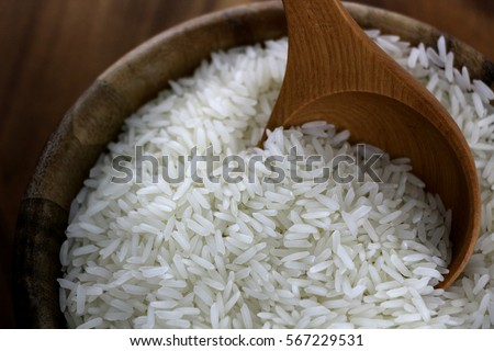 Thailand Rice in Wooden Bowl