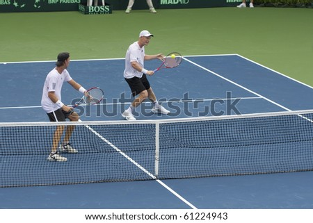 THAILAND- SEPTEMBER 18 : New Zealand Tennis player Michael Venus&daniel King-Turner actio in Davis Cup Asia/Oceania between Thailand vs New Zealand on September 17-19 2010 in LTAT Nonthaburi Thailand