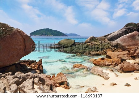 Thailand, the spring. The most beautiful beach in the picturesque Similan Islands - stock photo
