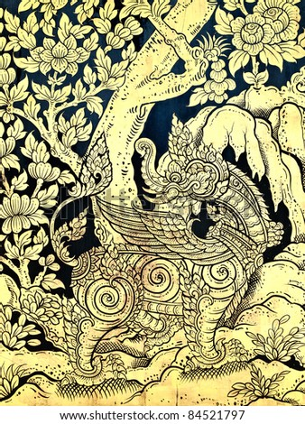 Thailand Traditional of Gold Painting style