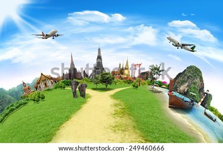 Thailand travel background, concept